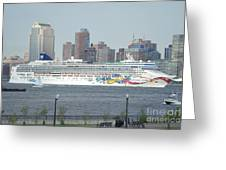 Cruise Ship On The Hudson Greeting Card