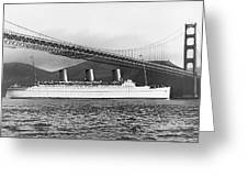 Cruise Ship Under Sf Bridge Greeting Card