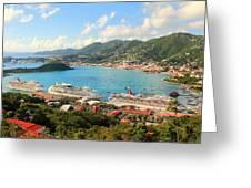 Cruise Ships In St. Thomas Usvi Greeting Card