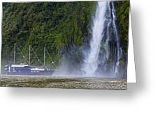 Cruising By A Waterfall Greeting Card
