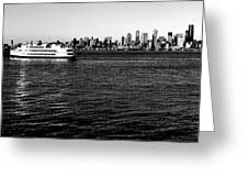 Cruising Elliott Bay Black And White Greeting Card