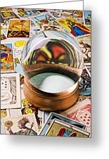 Crystal Ball And Tarot Cards Greeting Card by Garry Gay