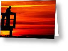 Crystal Beach Pier At Sunset IIi Greeting Card