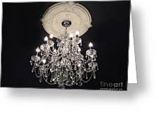 Crystal Chandelier - Paris Black And White Chandelier - Sparkling Elegant Chandelier Opulence Greeting Card