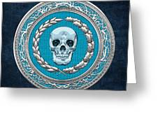 Crystal Human Skull On Blue Greeting Card