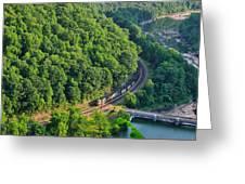 Csx Train At Hawks Nest Dam Greeting Card