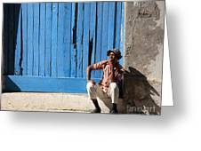 Cuban Man And His Cigar Greeting Card