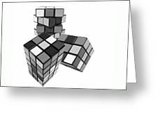 Cubed - Shades Of Grey Greeting Card