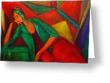 Cubism Contemplation  Greeting Card