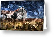 Cubist Abandoned Prairie Farm House Greeting Card