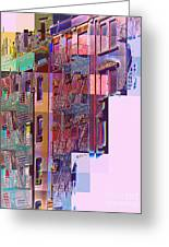 Colorful Old Buildings Of New York City - Pop-art Style Greeting Card