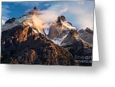 Cuernos Del Paine At Sunrise Greeting Card
