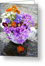 Cup Full Of Wildflowers Greeting Card by Edward Fielding