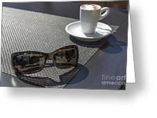 Cup Of Coffee And Sunglasses Greeting Card