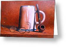 Cup Pipe And Glasses Greeting Card