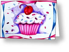 Cupcake And Ribbons Greeting Card