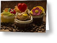 Cupcakes And Coffee Beans Greeting Card