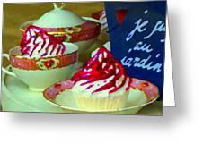Cupcakes And Tea Je Suis Au Jardin Coffee Shop City Scene Cafe Montreal Food  Art Carole Spandau Greeting Card