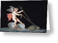 Cupid Being Led By Tortoises Greeting Card