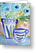 Cups And Flowers-  Watercolor Floral Painting Greeting Card
