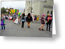 Curious Children On Mardi Gras Day Greeting Card