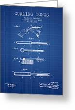 Curling Tongs Patent From 1889 - Blueprint Greeting Card