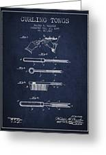 Curling Tongs Patent From 1889 - Navy Blue Greeting Card