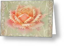 Curlyicue Peach Rose With Flourshis   Square Greeting Card