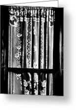 Curtain In Black And White Greeting Card