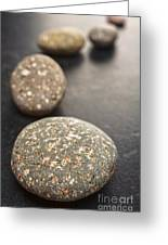 Curving Line Of Speckled Grey Pebbles On Dark Background Greeting Card