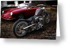 Custom Bike And Porsche Greeting Card