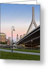 Custom House And Zakim Bridge Greeting Card