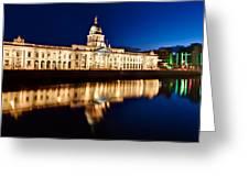 Customs House At Night / Dublin Greeting Card by Barry O Carroll