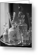 Cut Glass Crystal Decanters In Black And White 2 Greeting Card