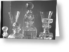 Cut Glass Decanters In Black And White Greeting Card