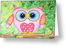 Cute As A Button Owl Greeting Card