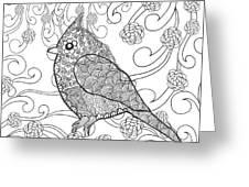 Cute Bird In Fantasy Flower Garden Greeting Card