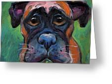 Cute Boxer Puppy Dog With Big Eyes Painting Greeting Card by Svetlana Novikova