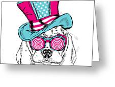 Cute Dog In An Unusual Hat . Vector Greeting Card