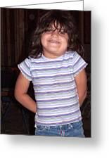 Cute Girl In Purple Blouse Greeting Card