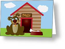 Cute Puppy Dog With Dog House Illustration Greeting Card