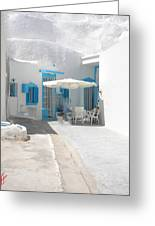 Cute Santorini Island Hause  Greeting Card