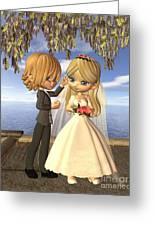Cute Toon Wedding Couple On A Seaside Balcony Greeting Card