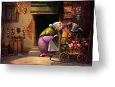 Cute Village Flower Shop Greeting Card