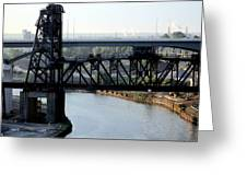 Cuyahoga River Cleveland Flats Greeting Card
