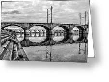Cv - Susquehanna River Bridge Harrisburg  Pennsylvania In Black  Greeting Card