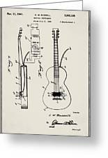 Cw Russell Acoustic Electric Guitar Patent 1939 Greeting Card