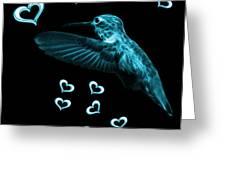 Cyan Hummingbird - 2055 F M Greeting Card
