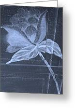 Cyan Negative Wood Flower Greeting Card