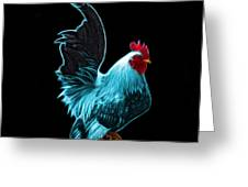 Cyan Rooster Pop Art - 4602 - Bb - James Ahn Greeting Card